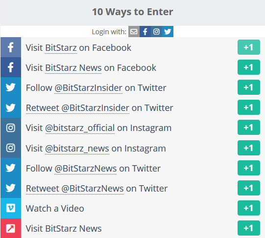 10 ways to enter the BITSTARZ BTC Giveaway